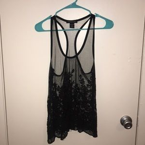Mesh tank top with flower details